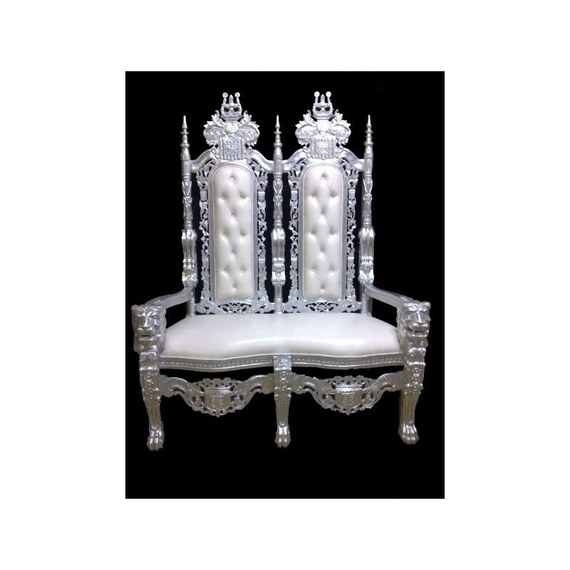 Location tr ne mari s 2 places argent cuir blanc tr ne mariage - Fauteuil 2 places baroque ...