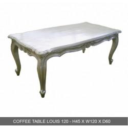 Location de Table Basse Baroque Bois Argente 120 Cm - En Stock