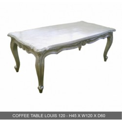 Location de Table Basse Baroque Bois Argente 120 Cm - En Stock
