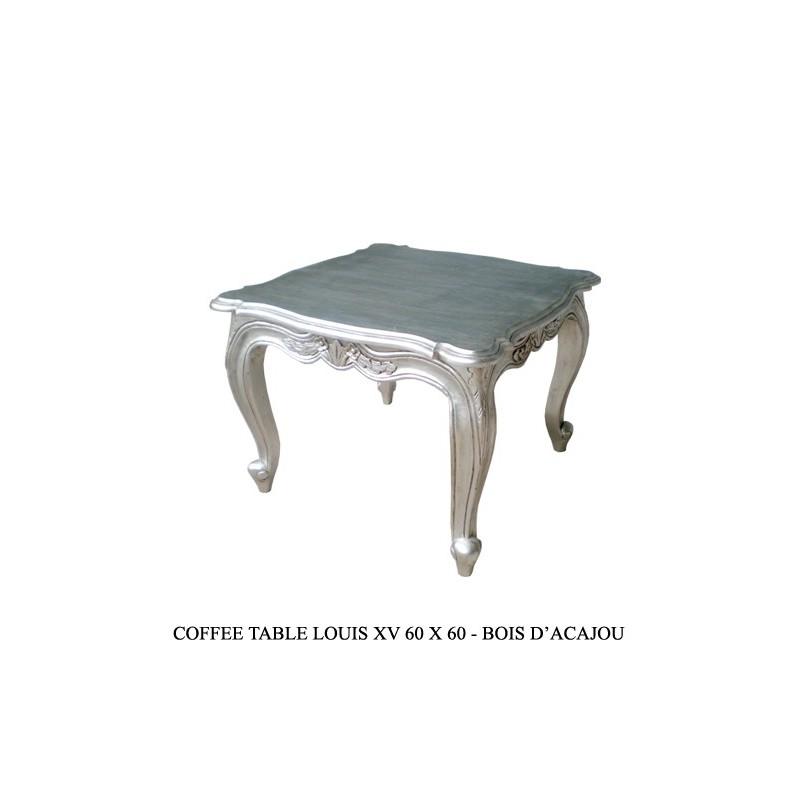 Louer table basse carr e bois argent for Table basse argent