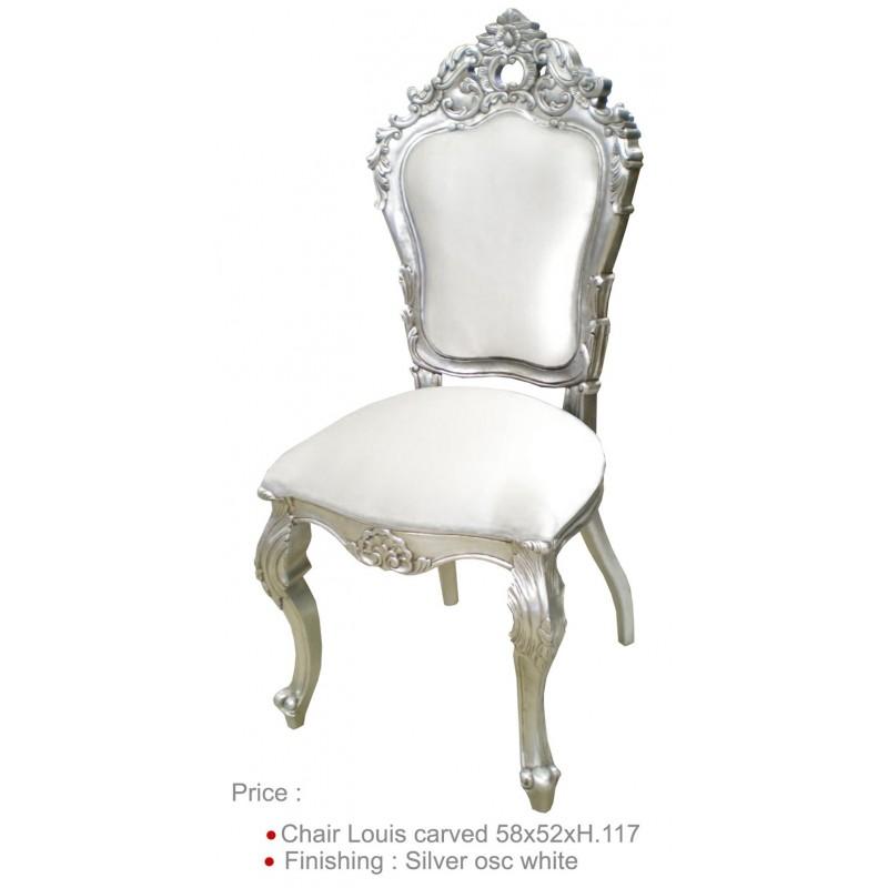 Location chaise argent' et imitation cuir blanc - Location de meubles