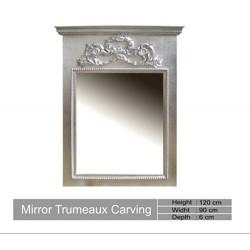 Miroir En Bois Argente Trumeau Carving
