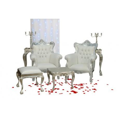Location fauteuil de mariage Ensemble 2 fauteuils Princes argent