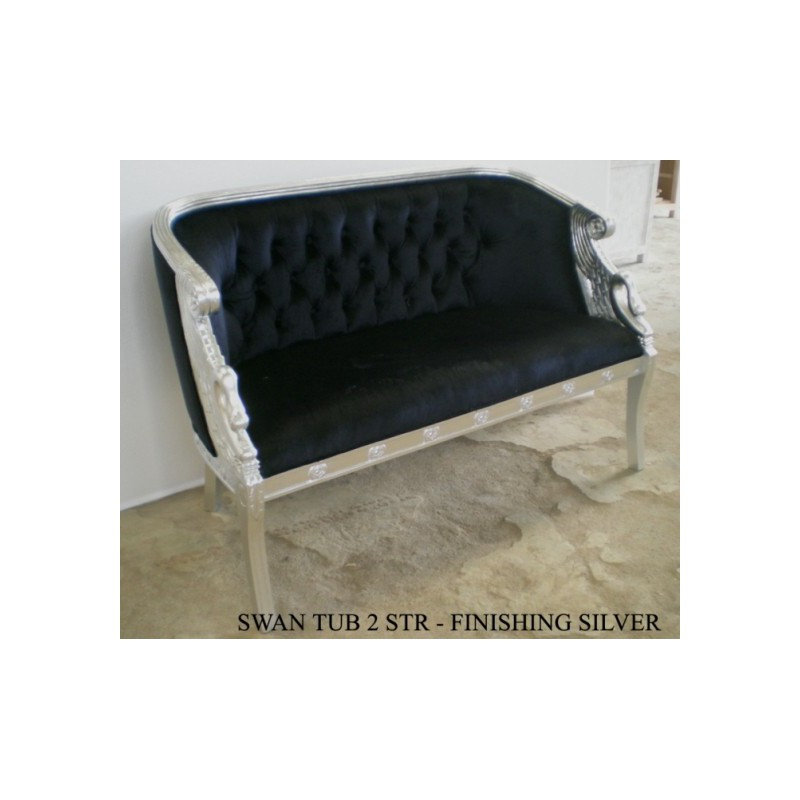 banquette deux places noire en velours. Black Bedroom Furniture Sets. Home Design Ideas