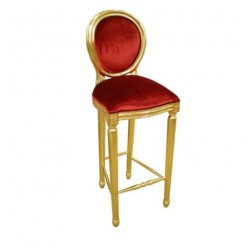 Location Chaise de bar en bois dor' et velours rouge