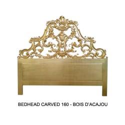 Tete De Lit 160 Cm En Bois Dore Modele Carved