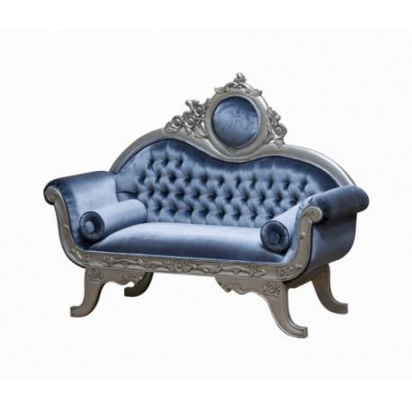 Sofa Victorian 2 Pl Tissu Bleu Gris Et Bois Argente