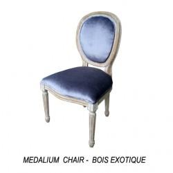 location Chaise Medaillon Ceruse Et Tissu Gris