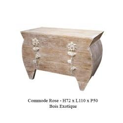 Commode En Bois Ceruse Modele Rose 3 Tiroirs