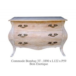 Location Commode En Bois Modele Bombay 3 Tiroirs Cerusee