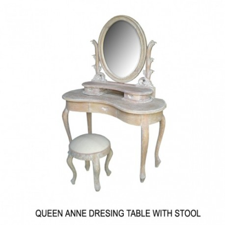 Coiffeuse Queen Anne En Bois Ceruse