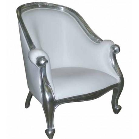 Location fauteuil argenté et imitation cuir blanc