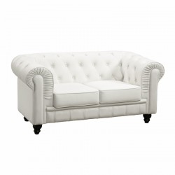 Location canapé Chesterfield en cuir blanc