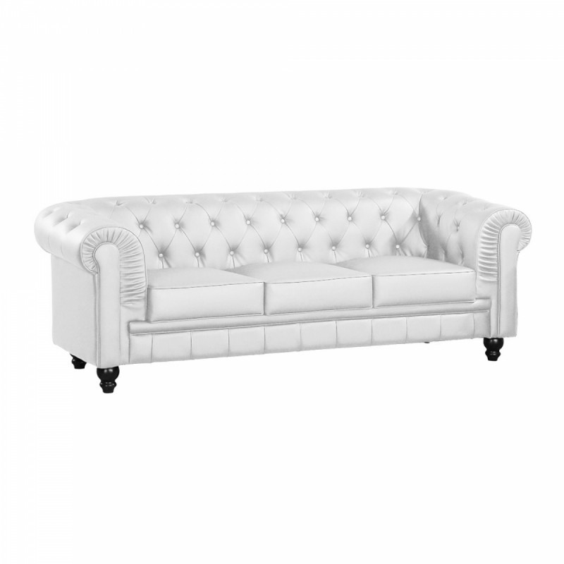 Canap compos de 3 places chesterfield cuir blanc for Monsieur meuble canape cuir blanc