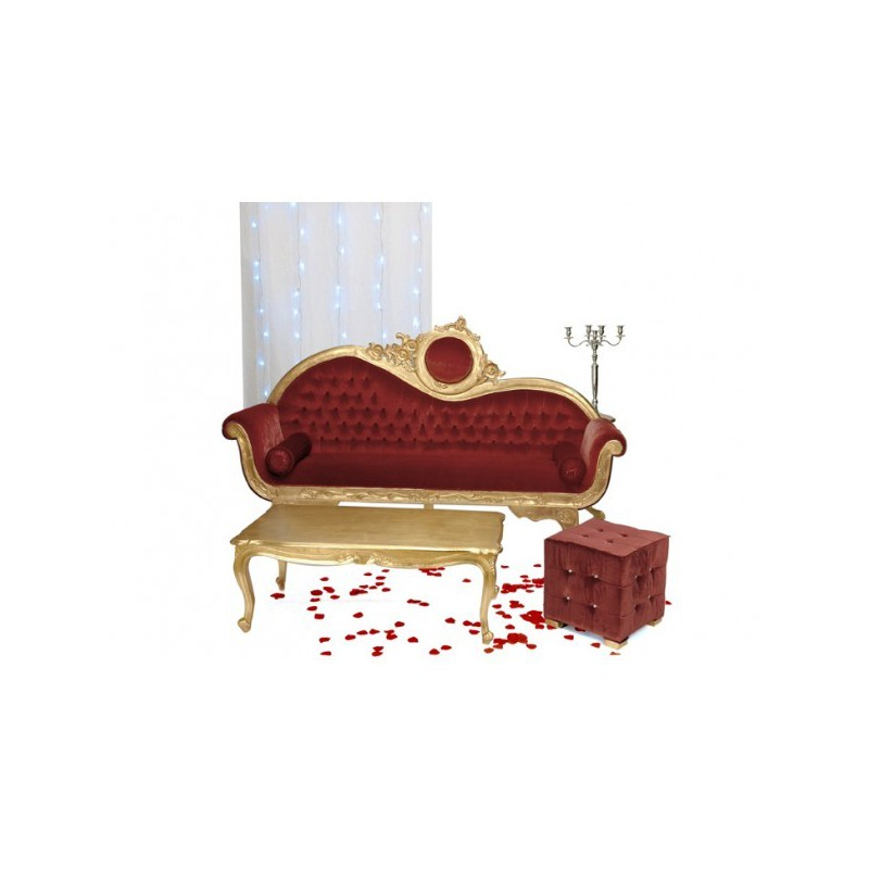 Location banquette sofa 3 places et table basse or et velour rouge - Decoration mariage oriental paris ...