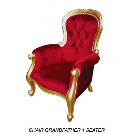 Location fauteuil en tissu Modèle Grandfather Velours Rouge Bois Doré