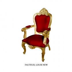 Locatin fauteuil de style en velours rouge et bois doré Carved avec accoudoirs
