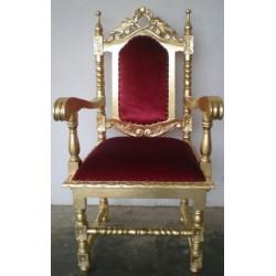 Location fauteuil trône doré et velours rouge théâtre