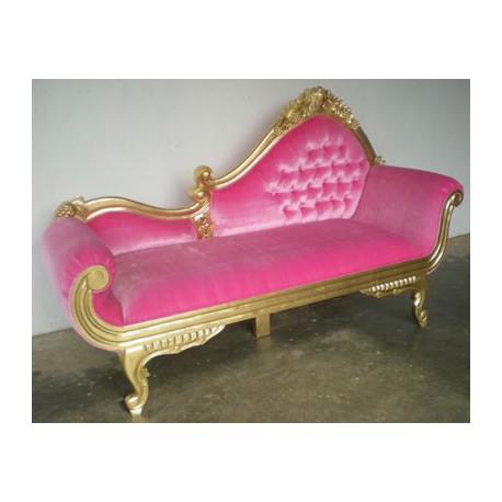 location meridienne baroque dor e et velours rose. Black Bedroom Furniture Sets. Home Design Ideas