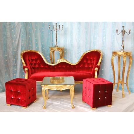 Trone de mariage à louer doré et velours rouge