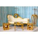 Trone de mariage location doré et blanc