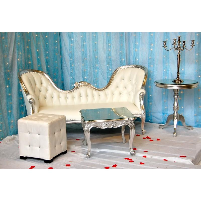 louez un trone de mariage blanc et argent. Black Bedroom Furniture Sets. Home Design Ideas