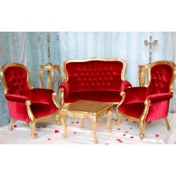 Trone de mariage à louer (doré et velours rouge) Grandfather