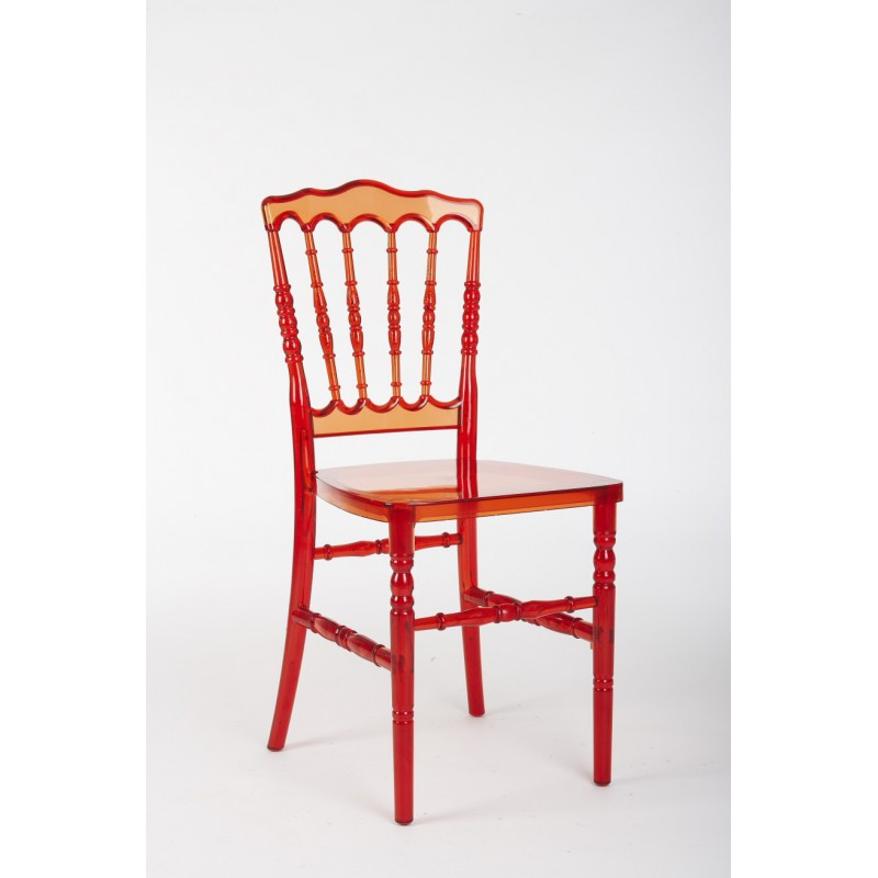 Chaise napol on rouge transparente louer - Chaises napoleon transparente ...