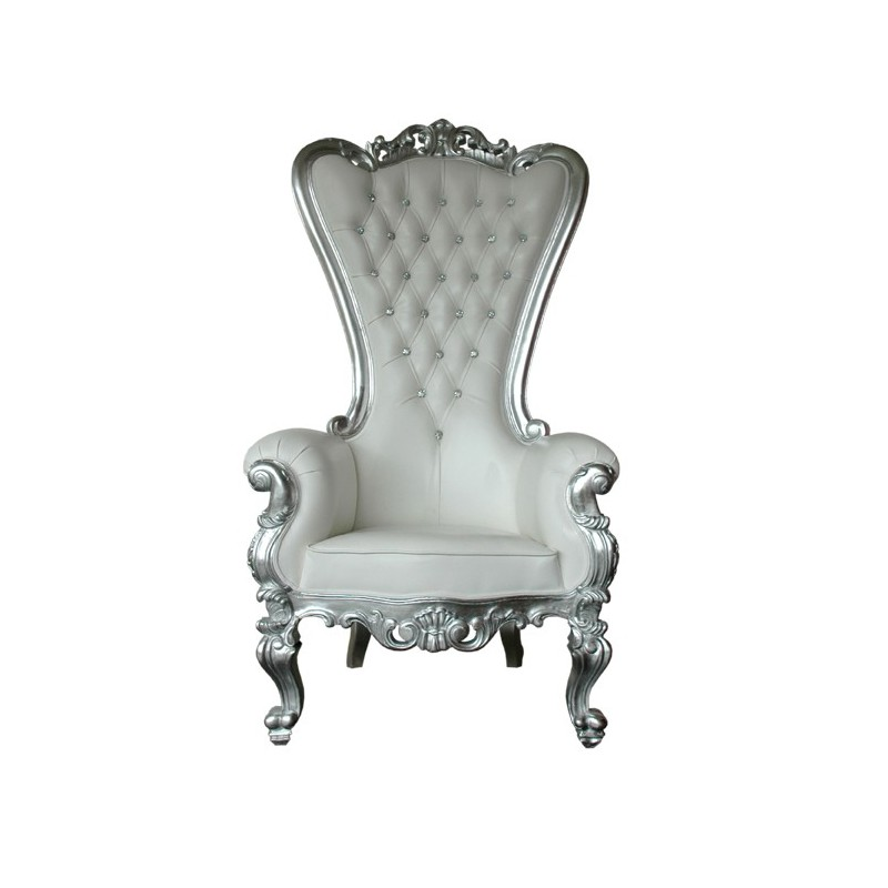 Location trone de mariage argent for Chaise baroque pas cher