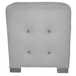 Pouf aspect cuir blanc et strass location