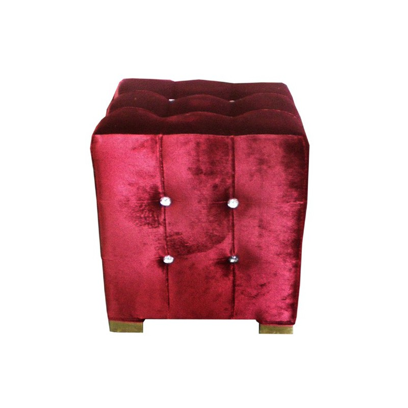 location de pouf capitonn en velours rouge. Black Bedroom Furniture Sets. Home Design Ideas
