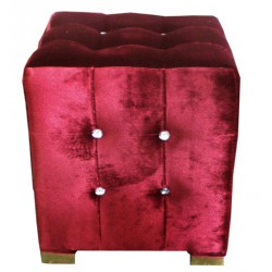 Pouf velours rouge