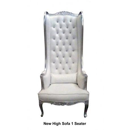 Location fauteuil à oreilles modèle Princier argent et blanc