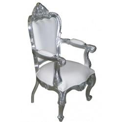 Location fauteuil de mariage aspect cuir blanc et bois argenté