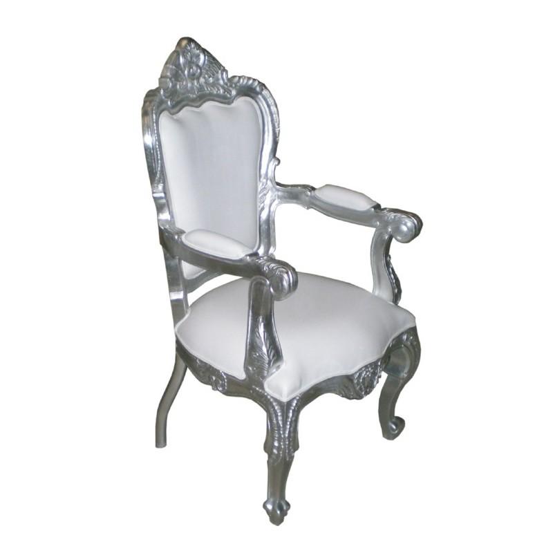 Fauteuil blanc et bois fauteuil chaise bascule adulte en for Fauteuil bois blanc