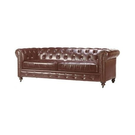"Location Canapé Chesterfield 3 places cuir marron ""vieilli"""