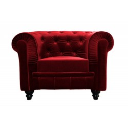 Location Fauteuil chesterfield 1 place velours rouge
