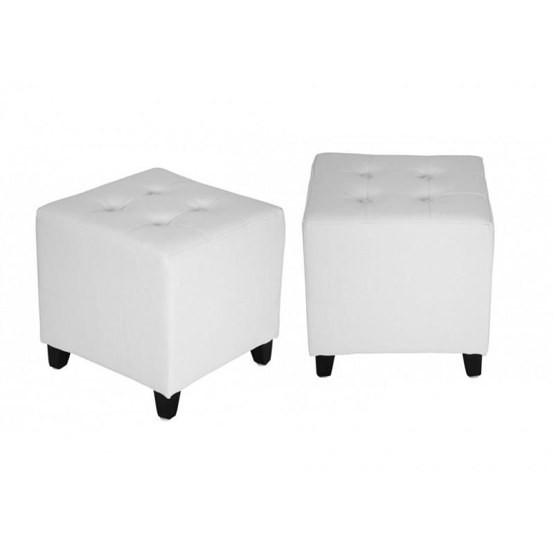 Location de poufs en cuir blanc pour vos r ceptions - Pouf simili cuir blanc ...