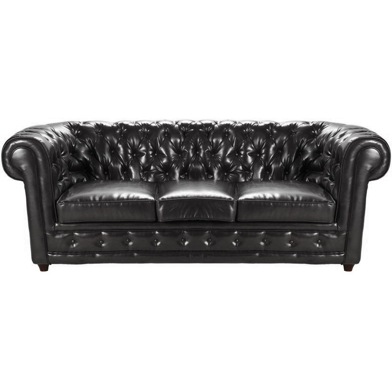 location canap chesterfield 3 places cuir noir. Black Bedroom Furniture Sets. Home Design Ideas