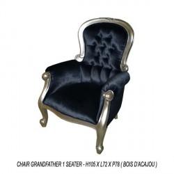 Location fauteuil de style en velours noir et bois argenté grandfather