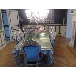 Location table de repas baroque en bois argenté