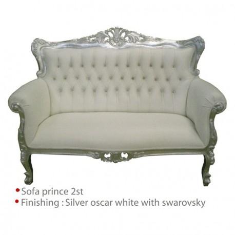 Location Canape De Style Modele Prince blanc et argenté