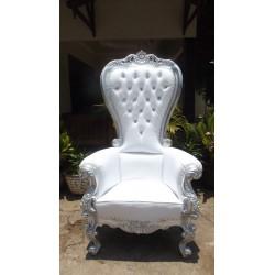 location fauteuil haut cuir blanc et bois argenté