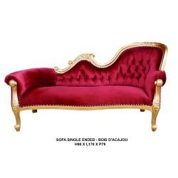 location meridienne dorée et velours rouge (single end)