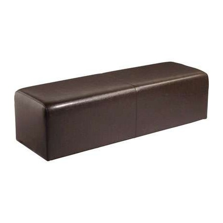 Location pouf aspect cuir choco