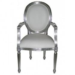 Location fauteuil cabriolet argent et blanc