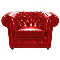 Location fauteuil chesterfield cuir rouge