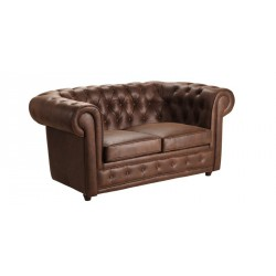 Location Canapé Chesterfield 2 places en tissu marron