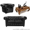 Location decor chesterfield cuir noir 1 + 2 + table