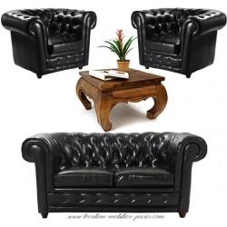 Location ensemble canapé chesterfield 2 places + 2 fauteuils 1 place + 1 table